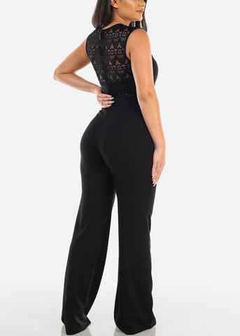 Image of Elegant Fancy Sleeveless Black Crochet & Floral Lace Jumper Jumpsuit