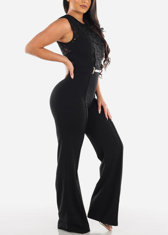 Elegant Fancy Sleeveless Black Crochet & Floral Lace Jumper Jumpsuit