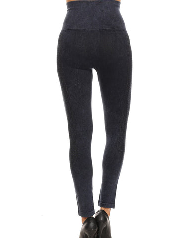 High Rise Cotton Faded Navy Seamless Leggings