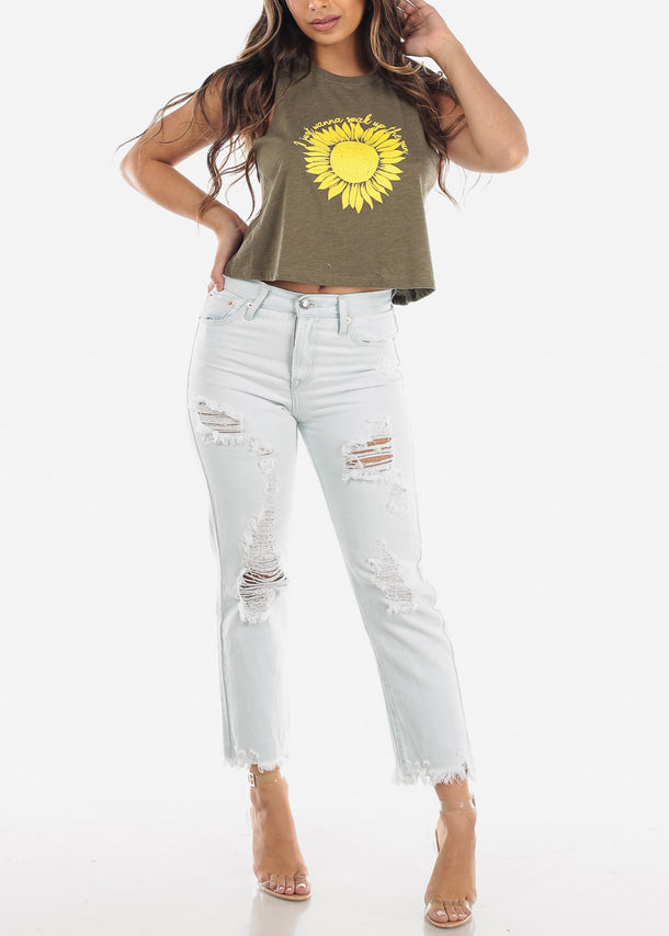 Olive Sunflower Graphic Tank Top