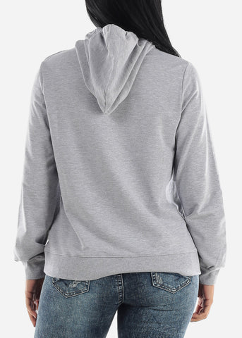 Grey Long Sleeve Hooded Sweatshirt