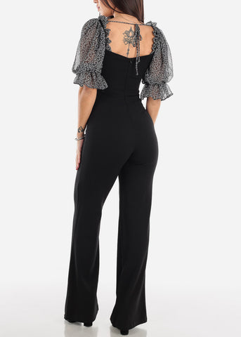 Image of Puffy Sleeve Black Jumpsuit
