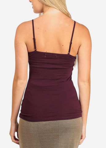 Image of Women's Junior Essential Solid color Stretchy Under shirt Camisole Adjustable Spaghetti Strap Burgundy Shirt Tank Top