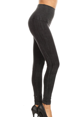 Faded High Rise Cotton Black Seamless Leggings