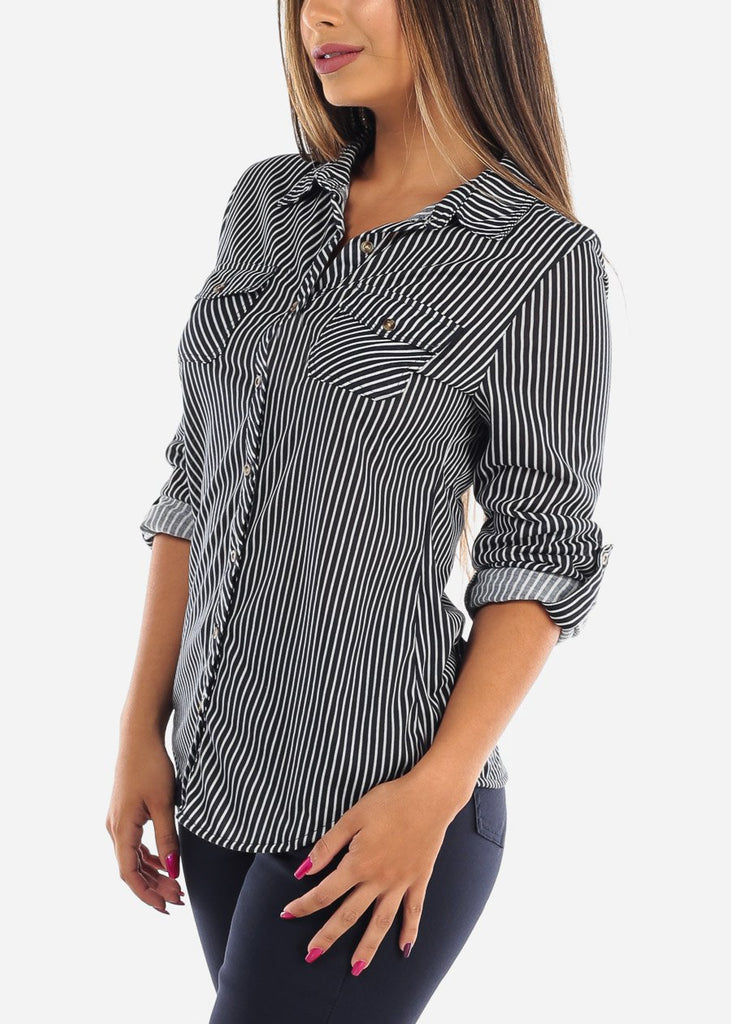 Women's Junior ladies Navy Stripe Stylish Button Up Roll Up Sleeve Blouse Top For Office Business Career Wear On Sale Affordable Price