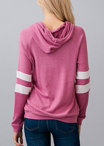 Image of Stripe Sleeves Rose Hoodie