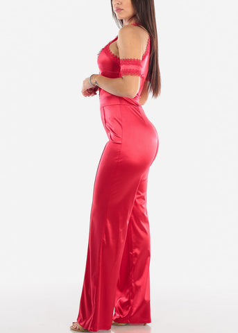 Image of Cold Shoulder Red Halter Jumpsuit