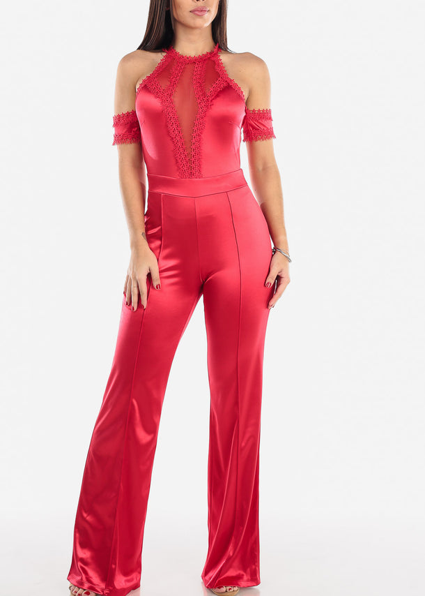 Cold Shoulder Red Halter Jumpsuit