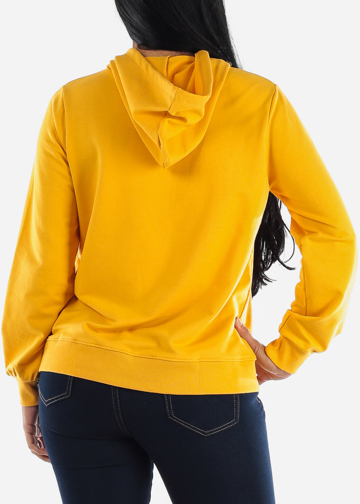 Mustard Long Sleeve Hooded Sweatshirt