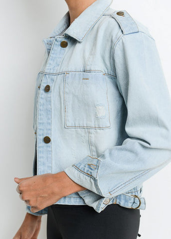 Image of Button Up Light Wash Ripped Denim Jacket