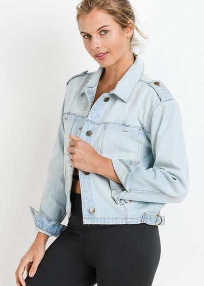 Button Up Light Wash Ripped Denim Jacket
