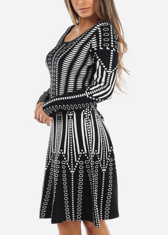 Black & White A-Line Sweater Dress