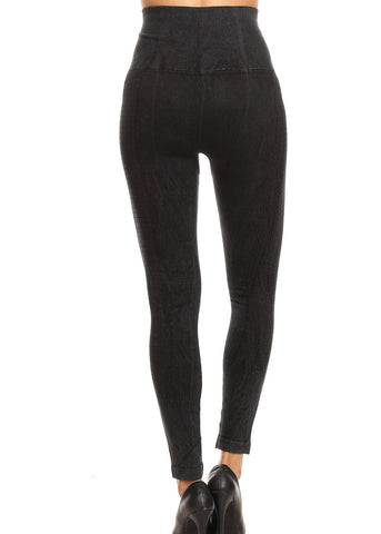 High Rise Faded Cotton Black Seamless Leggings