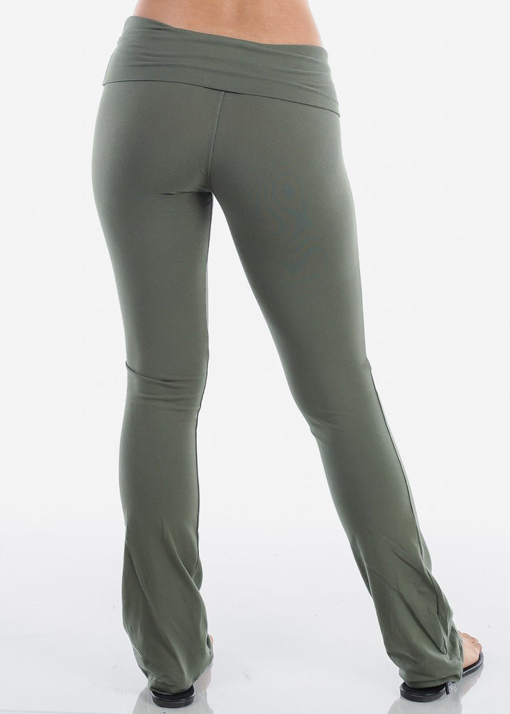 Women's Juniors Ladies Olive Cotton Spandex Fold over Yoga Pants For Gym Running