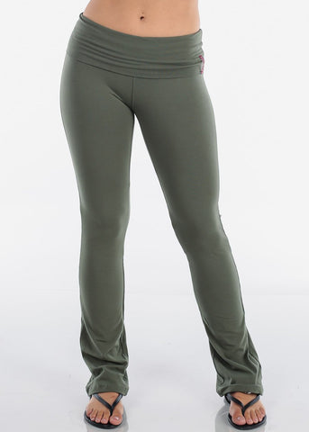 Image of Women's Juniors Ladies Olive Cotton Spandex Fold over Yoga Pants For Gym Running