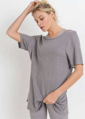Grey Open Back Wrap Tunic Top