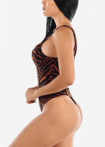 Brown Zebra Print Bodysuit