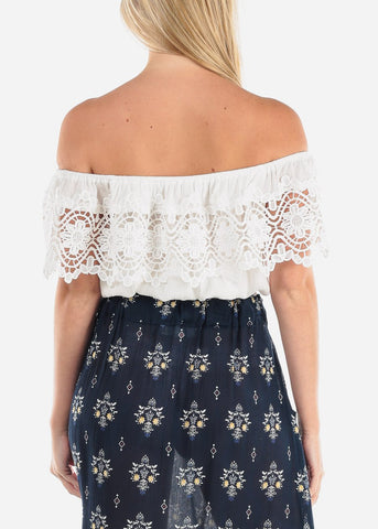 Off Shoulder White Crochet Crop Top