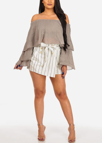 Women's Junior Summer Stylish White Stripe Tie Belt Paperbag High Waisted Linen Shorts With Pockets