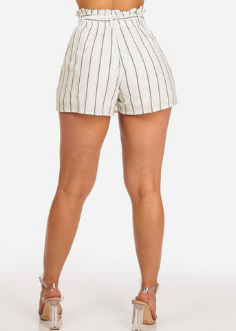 White Striped Paperbag Skort