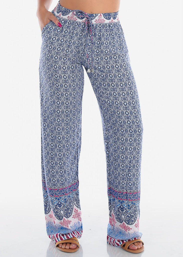 High Rise Blue Printed Pants