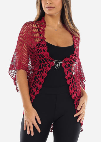 Red Short Sleeve Fishnet Cardigan