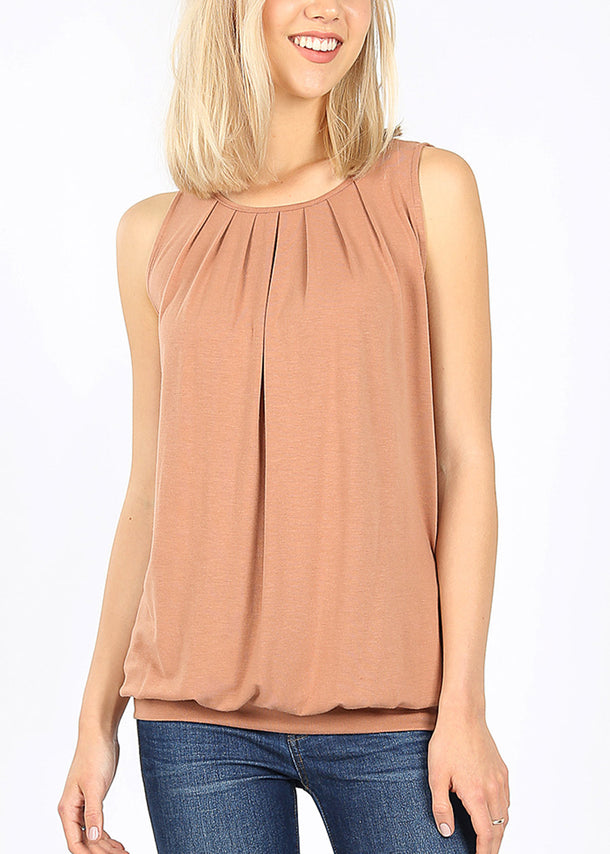 Mocha Pleated Top W Waistband