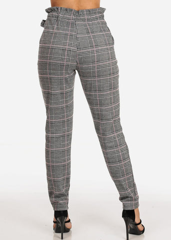 Women's Junior Ladies Dressy High Rise Light Burgundy Houndstooth And Plaid Print Dressy Stretchy Pants