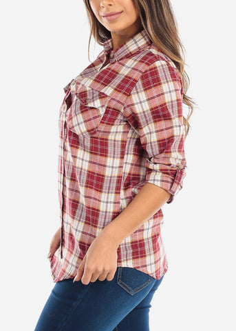 Image of Red Plaid Button Down Shirt