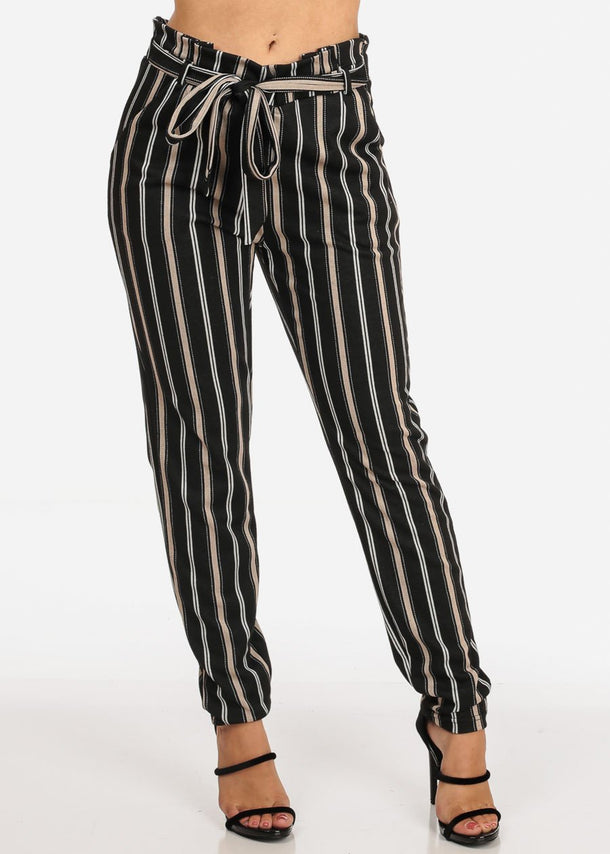 Women's Junior Ladies Dressy Going Out Stretchy High Rise Black Stripe Dressy Pants