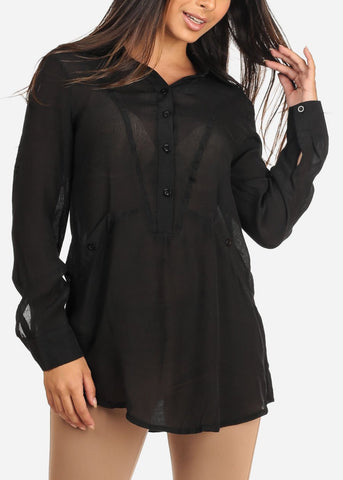 Image of Women's Junior Ladies Casual Lightweight Loose Fit Long Sleeve Button Up Black Tunic Blouse Top