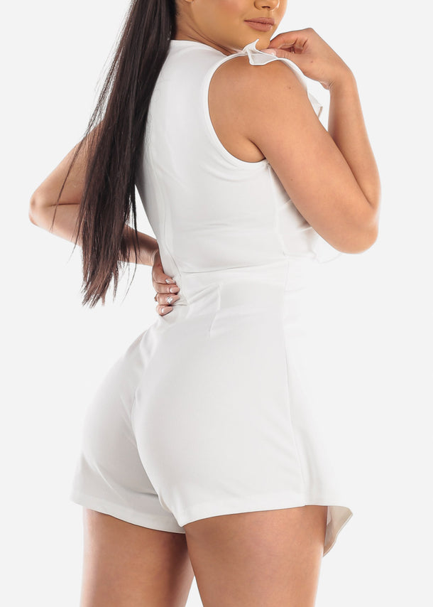 Sexy Ruffled White Romper at Discount Prices