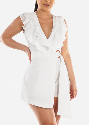 Sexy Stylish Trendy Solid White Ruffles Romper For Women Ladies Junior Party Vacation Trip Night Out Clubwear