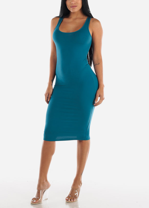 Sleeveless Bodycon Teal Dress