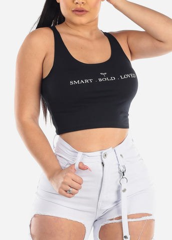 "Black Graphic Tank Top ""Smart.Bold.Loved"""
