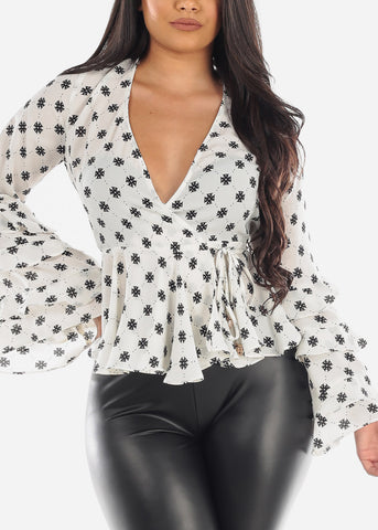 Sexy Ruffle Long Sleeve Side Tie Wrap Front Peplum Chiffon Blouse