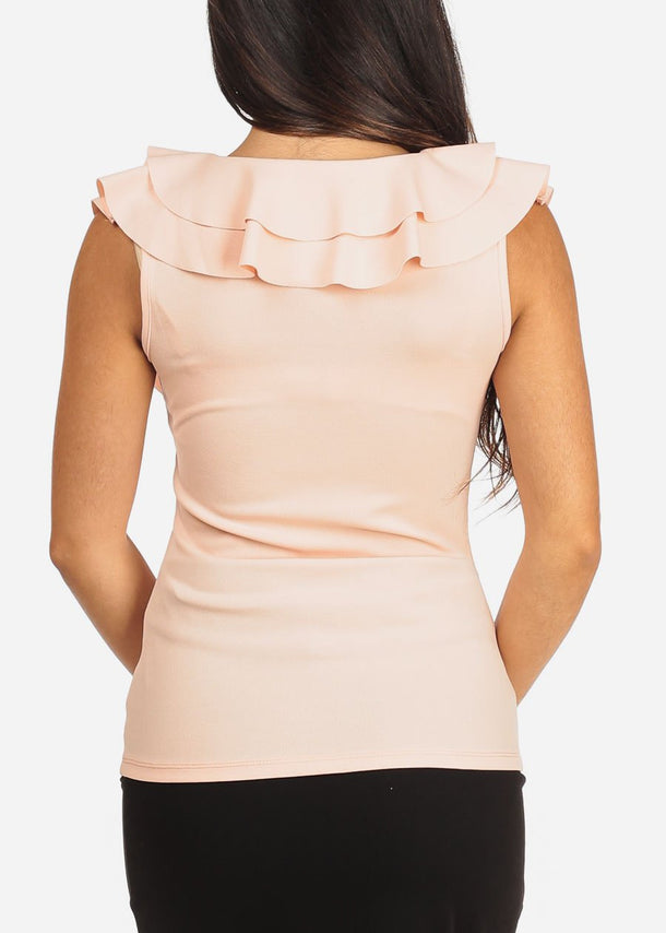 Sleeveless Ruffled V Neck Light Peach Top