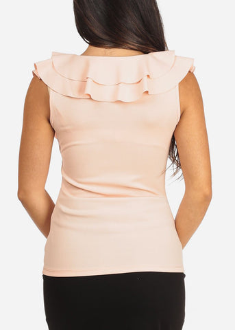 Image of Women's Junior Ladies Sexy Going Out Dressy Ruffle Detail Light Peach Sleeveless Top