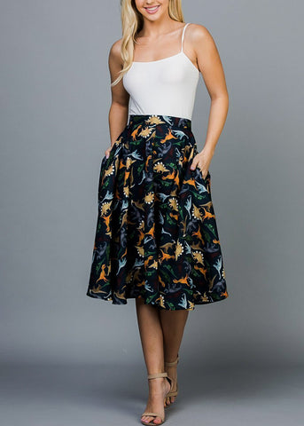 Navy Dino Print Fit & Flare Skirt