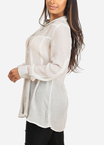 Image of Women's Junior Ladies Stylish Casual Going Out Brunch Long Sleeve Button Solid White Button Up Tunic Top