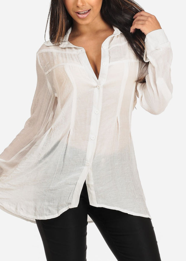 Women's Junior Ladies Stylish Casual Going Out Brunch Long Sleeve Button Solid White Button Up Tunic Top