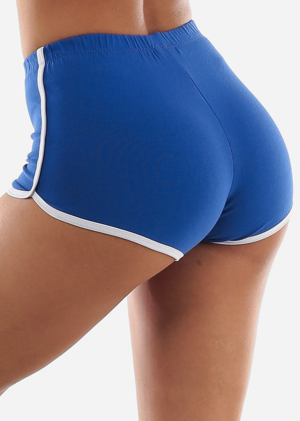 Royal Blue Dolphin Hem Shorts