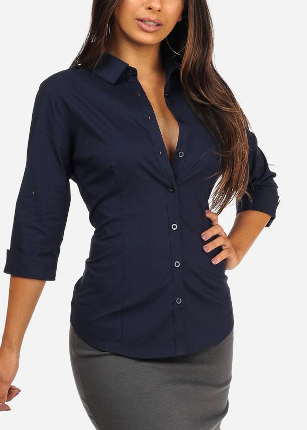 Office Business Wear Button Up 3/4 Sleeve Navy Shirt Top
