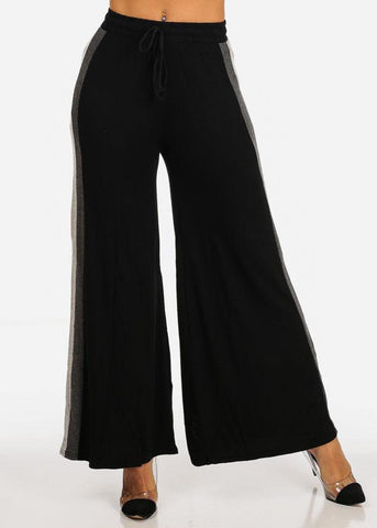 Image of One Size High Waisted Grey Stripe Sides Black Stretchy Wide Legged Pants