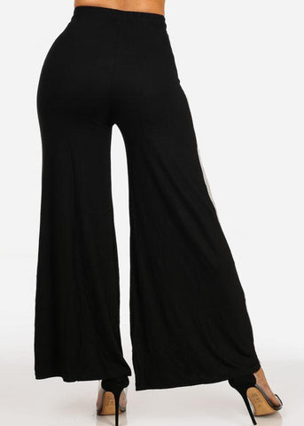 Image of High Rise Striped Black Wide Leg Pants