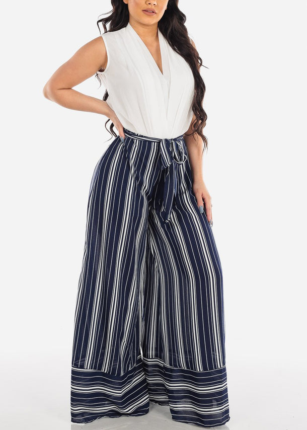 High Rise Wide Leg Navy Stripe Pants