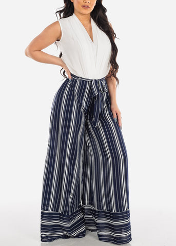 Image of Lightweight Navy And White Stripe High Waisted Wide Legged Pants For Women Ladies Junior Summer Vacation