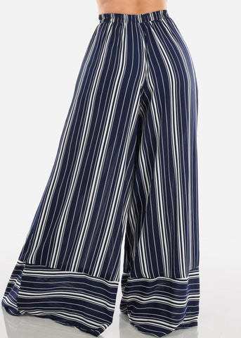 Image of High Rise Wide Leg Navy Stripe Pants