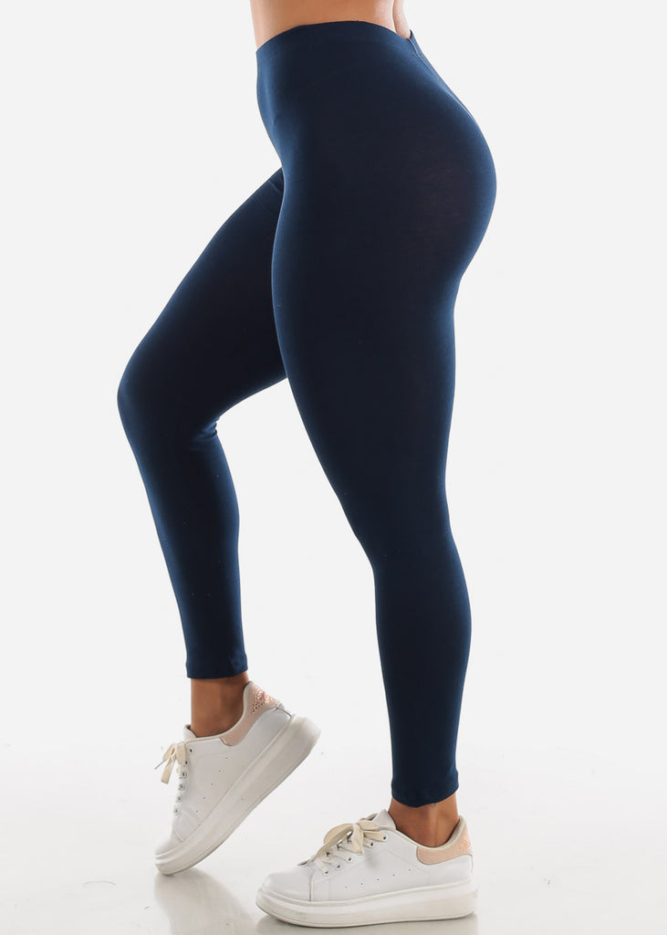 Cotton High Rise Navy Leggings