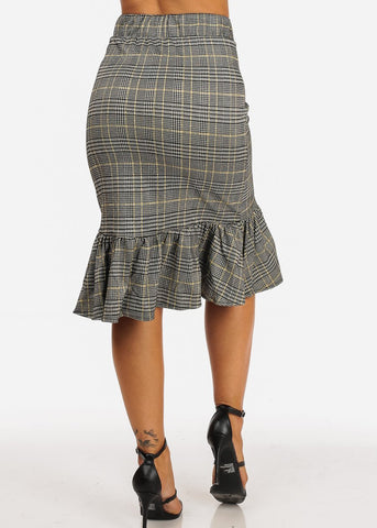 Ruffled Grey Plaid Midi Skirt